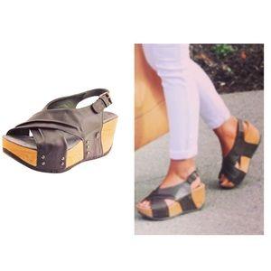 Bussola Formentera Leather Wedge Slingback Sandals